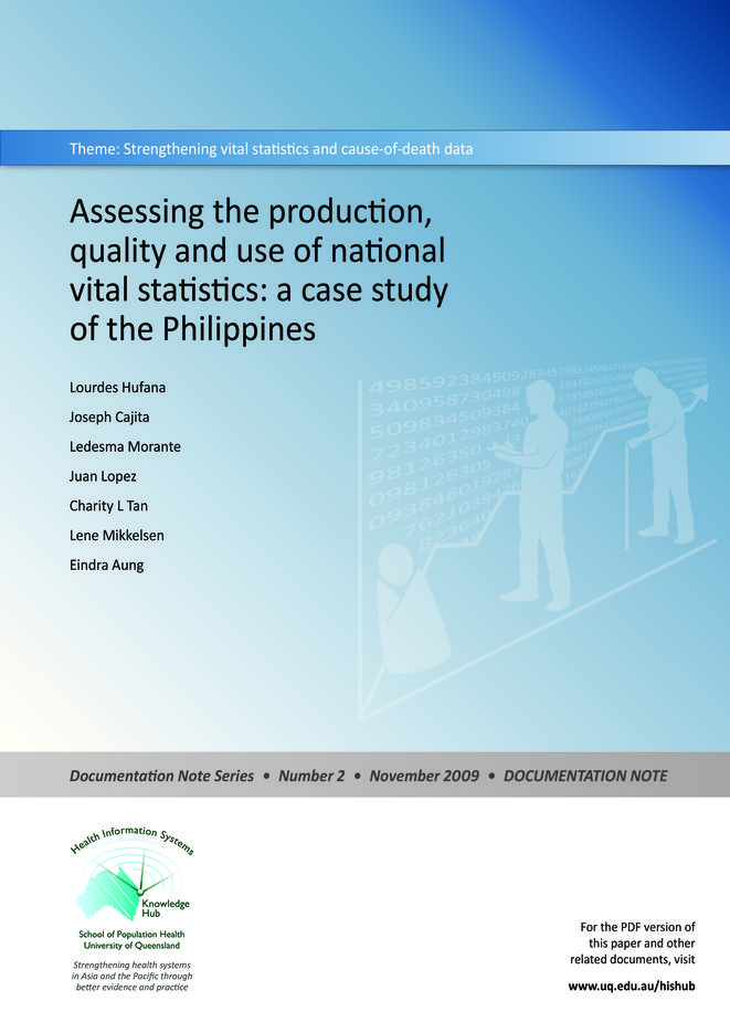 Assessing the production, quality and use of national vital statistics: a case study of the Philippines