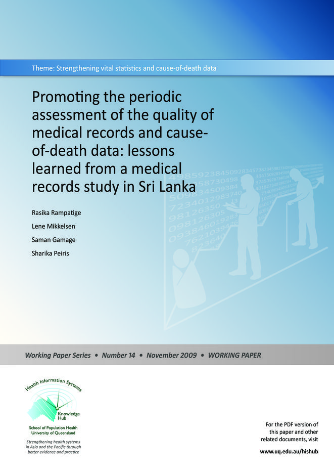 Promoting the periodic assessment of the quality of medical records and cause-of-death data