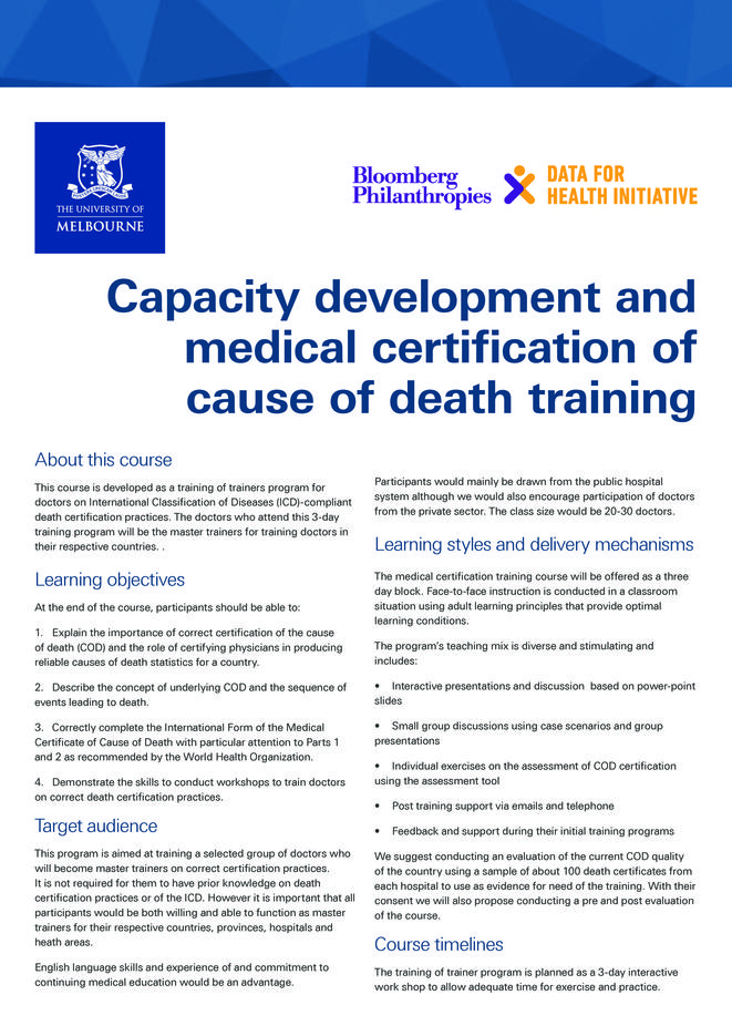 Improving Death Certification And Mortality Coding