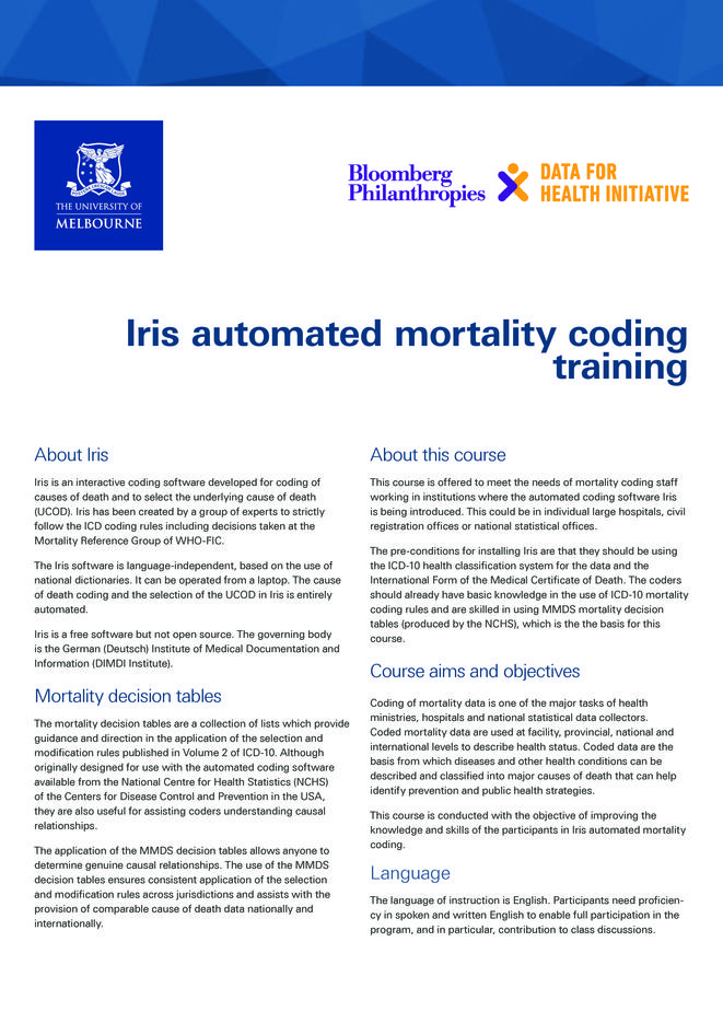 Iris automated mortality coding training