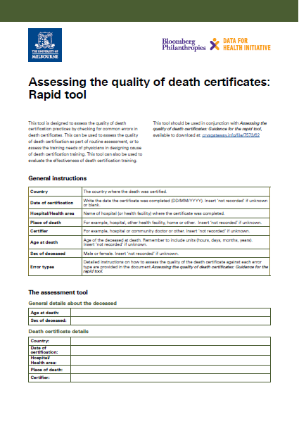 Assessing the quality of death certificates: Rapid tool